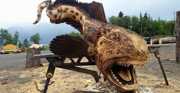 Magnificent wolf eel carved by jordan anderson