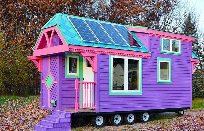 Pretty Purple Off Grid Solar Powered Tiny House